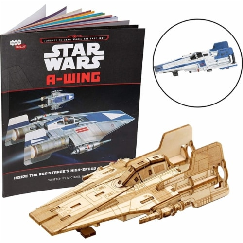 IncrediBuilds Star Wars: The Last Jedi: A-Wing Book and 3D Wood Model Figure Kit Perspective: front