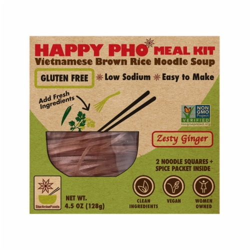 Star Anise Foods Happy Pho Zesty Ginger Brown Rice Noodle Soup Perspective: front