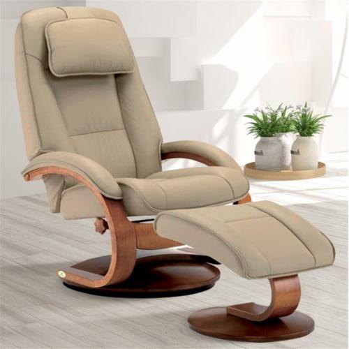 Relax-R BRAMPTON052032 Brampton Recliner & Ottoman, Cobblestone Tan Perspective: front