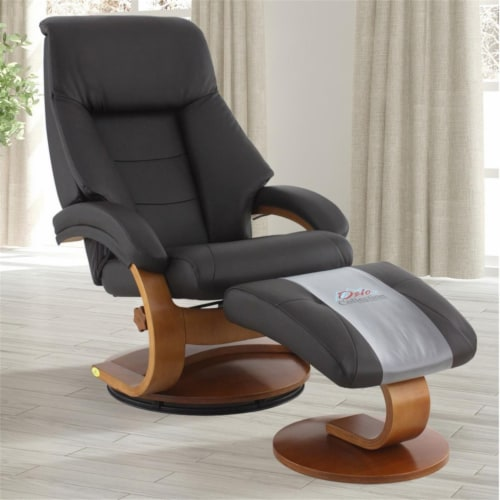 Relax-R MONTREAL058040 Montreal Recliner & Ottoman, Espresso Brown Perspective: front