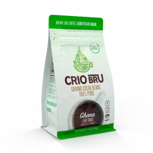 Crio Bru Ghana Light Roast Chocolatey & Smooth Ground Cocoa Beans Perspective: front