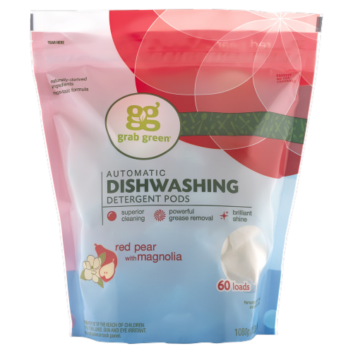Grab Green Automatic Dishwashing Detergent Pods Red Pear with Magnolia Perspective: front