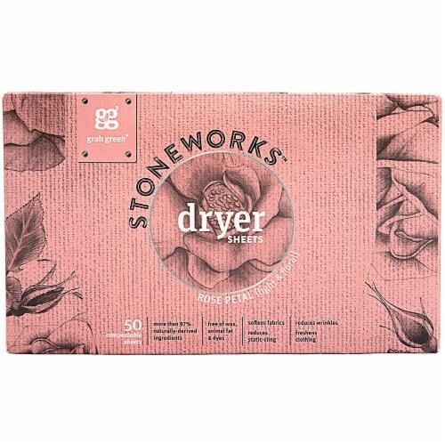 GrabGreen  Stoneworks™ Dryer Sheets Rose Petal Perspective: front