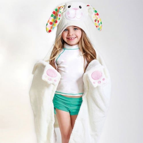 ZOOCCHINI Kids Plush Terry Hooded Bath Towel - Bella the Bunny Perspective: front