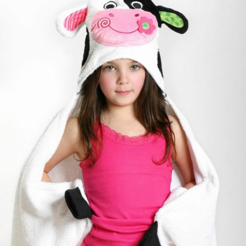 ZOOCCHINI Kids Plush Terry Hooded Bath Towel - Casey the Cow Perspective: front