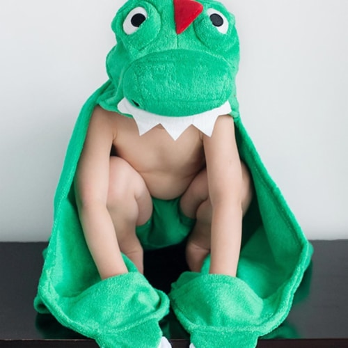 ZOOCCHINI Kids Plush Terry Hooded Bath Towel - Devin the Dinosaur Perspective: front