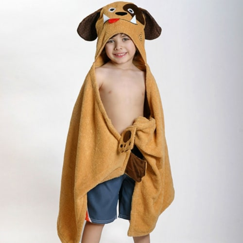 ZOOCCHINI Kids Plush Terry Hooded Bath Towel - Duffy the Dog Perspective: front