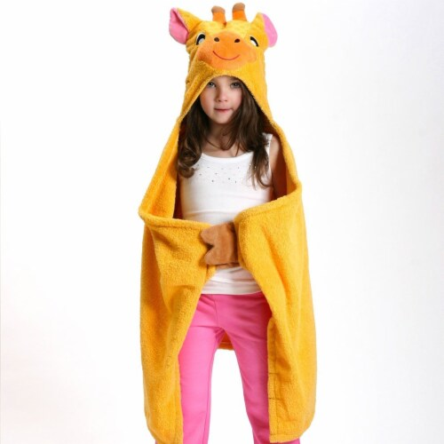 ZOOCCHINI Kids Plush Terry Hooded Bath Towel - Jaime the Giraffe Perspective: front