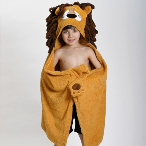 ZOOCCHINI Kids Plush Terry Hooded Bath Towel - Leo the Lion Perspective: front