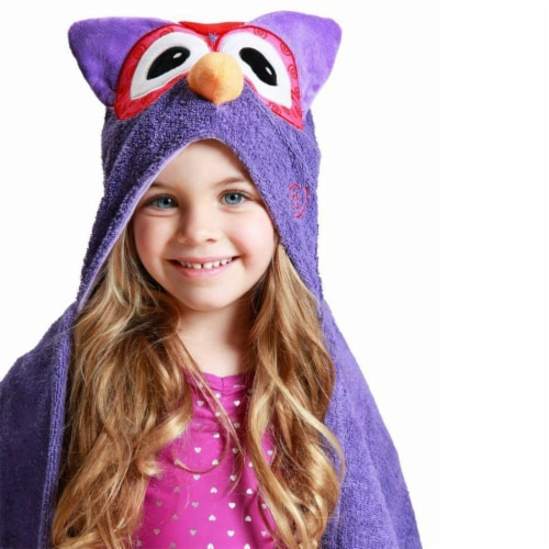 ZOOCCHINI Kids Plush Terry Hooded Bath Towel - Olive the Owl Perspective: front