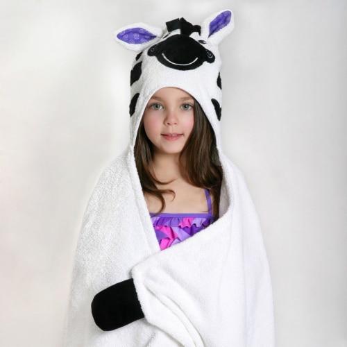 ZOOCCHINI Kids Plush Terry Hooded Bath Towel - Ziggy the Zebra Perspective: front