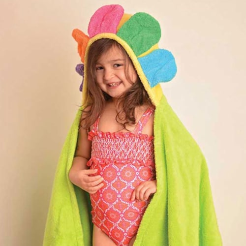 ZOOCCHINI Kids Plush Terry Hooded Bath Towel - Flora the Flower Perspective: front