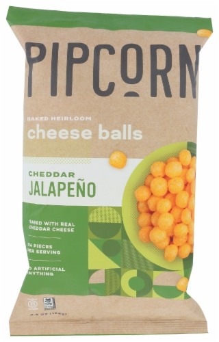 Pipcorn Cheddar Jalapeno Baked Heirloom Cheese Balls Perspective: front