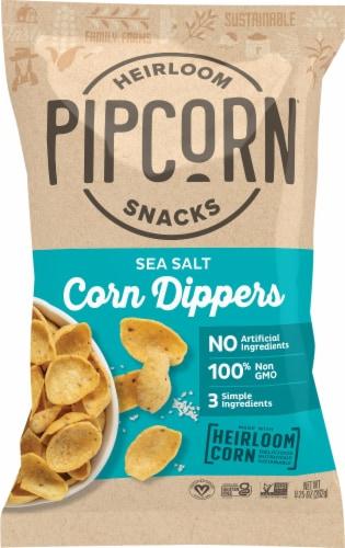 Pipcorn Sea Salt Crunchy Heirloom Corn Dippers Snack Perspective: front