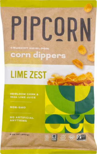 Pipcorn Lime Zest Crunchy Heirloom Corn Dippers Snack Perspective: front