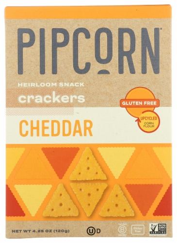 Pipcorn Cheddar Heirloom Snack Crackers Perspective: front
