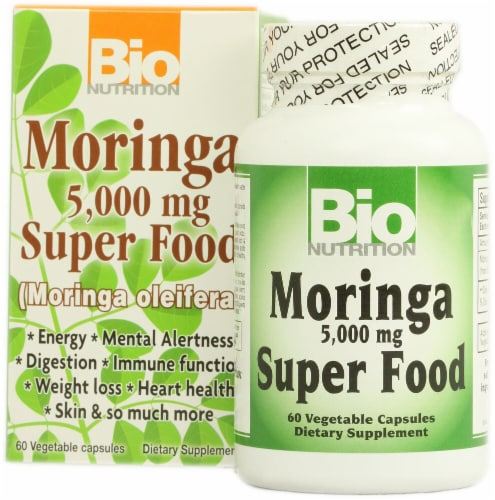 Bio Nutrition Moringa Super Food Capsules 5000mg Perspective: front