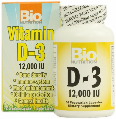 Bio Nutrition Vitamin D-3 Capsules 12000IU Perspective: front