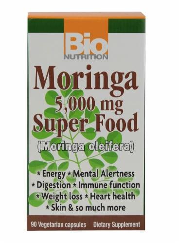 Bio Nutrition Moringa Super Food Vegetarian Capsules 5000mg Perspective: front
