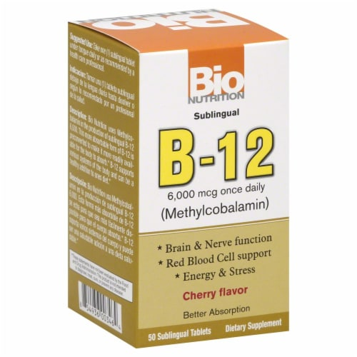 Bio Nutrition B-12 Sublingle 6000mcg Perspective: front