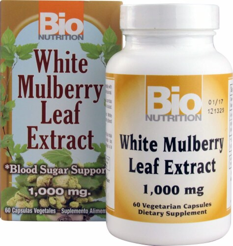 Bio Nutrition White Mulberry Leaf Extract Vegetarian Capsules 1000mg Perspective: front