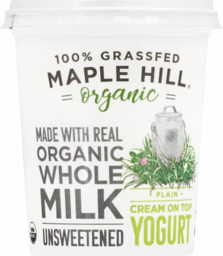 Maple Hill Creamery Organic 100% Grass-Fed Whole Milk Plain Yogurt Perspective: front