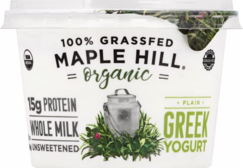 Maple Hill Creamery Organic 100% Grass-Fed Whole Milk Plain Greek Yogurt Perspective: front