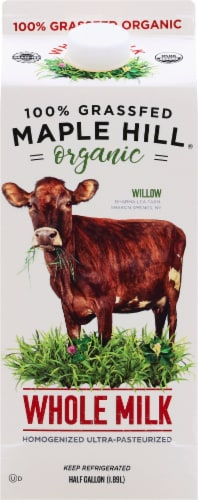 Maple Hill Organic 100% Grassfed Whole Milk Perspective: front