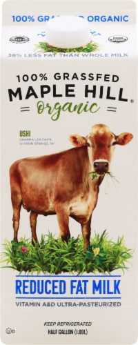 Maple Hill Organic 100% Grassfed Reduced Fat Milk Perspective: front