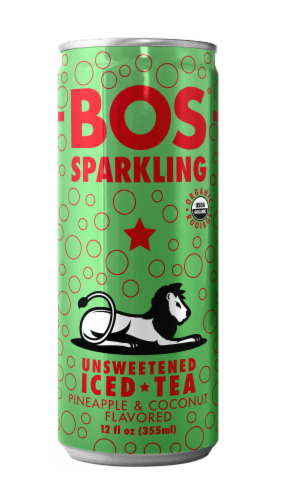 BOS Sparkling Unsweetened Pineapple & Coconut Iced Tea Perspective: front