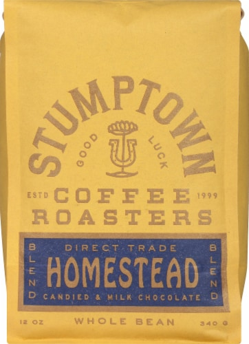 Stumptown Coffee Roasters Homestead Blend Candied & Milk Chocolate Whole Bean Coffee Perspective: front