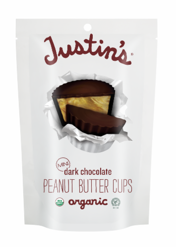 Justin's Organic Mini Dark Chocolate Peanut Butter Cups Perspective: front