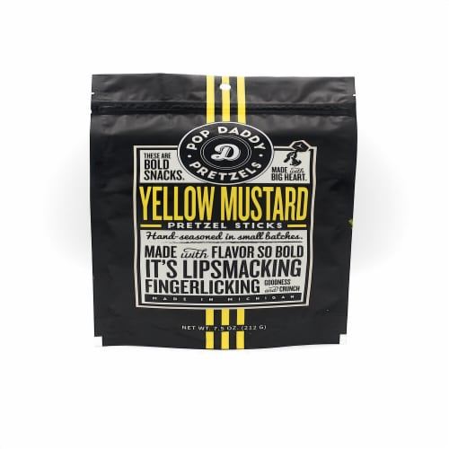 Pop Daddy Yellow Mustard Seasoned Pretzel Sticks Perspective: front