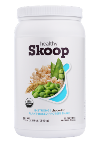 Healthy Skoop B-Strong Choco-Lot Plant-Based Protein Shake Perspective: front