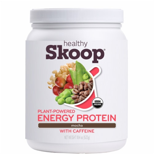 Healthy Skoop Mocha Plant-Powered Energy Protein with Caffeine Perspective: front