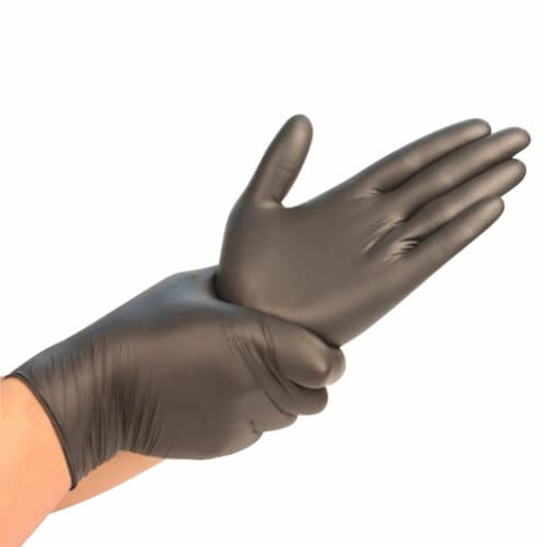 Synguard Nitrile Disposable Gloves Medium Black Powder Free 100 - Case Of: 1; Perspective: front