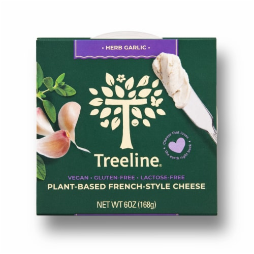 Treeline Treenut Cheese Herb & Garlic Soft French-Style Nut Cheese Perspective: front
