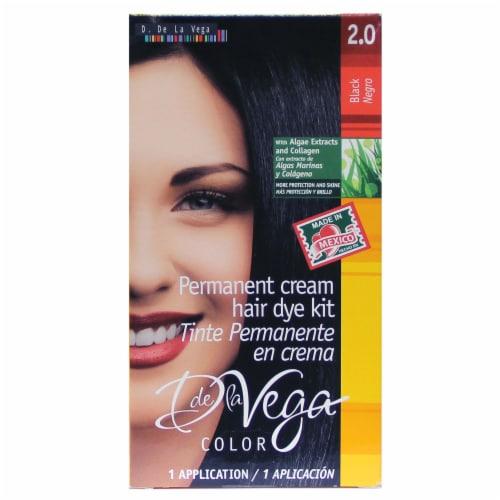 D De La Vega Black 2.0 Permanent Cream Hair Dye Kit Perspective: front