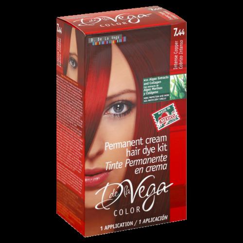 D De La Vega Intense Copper 7.44 Permanent Cream Hair Dye Kit Perspective: front