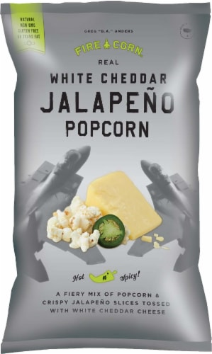 Fire Corn Real White Cheddar Jalapeno Popcorn Perspective: front