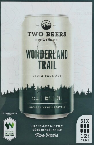 Two Beers Brewing Co. Wonderland Trail IPA Perspective: front