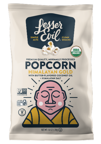LesserEvil Organic Himalayan Gold Popcorn Perspective: front