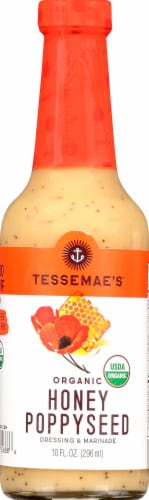 Tessemae's Organic Honey Poppyseed Dressing & Marinade Perspective: front