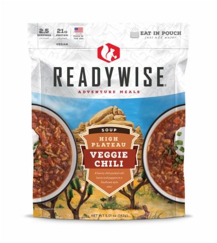 ReadyWise Adventure Meals Veggie Chili Soup Perspective: front
