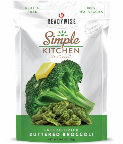 ReadyWise Simple Kitchen Freeze-Dried Buttered Broccoli Perspective: front