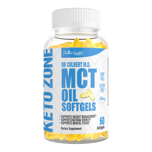 Divine Health Keto Zone MCT Oil 1000mg Softgels Perspective: front