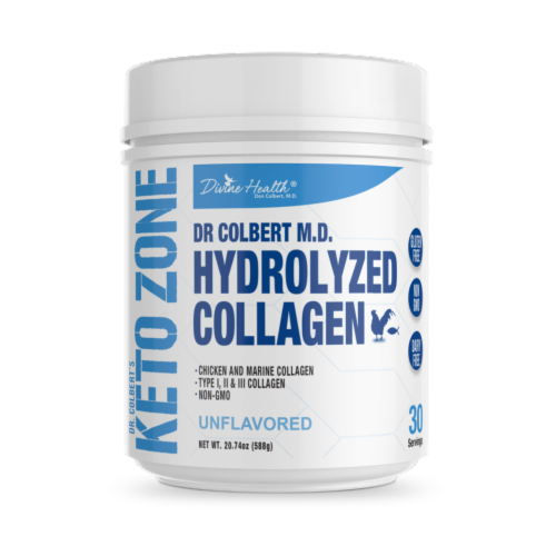 Divine Health Keto Zone Unflavored Hydrolyzed Collagen Protein Powder Perspective: front