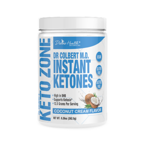 Divine Health Keto Zone Coconut Cream Flavored MCT Oil Protein Powder Perspective: front