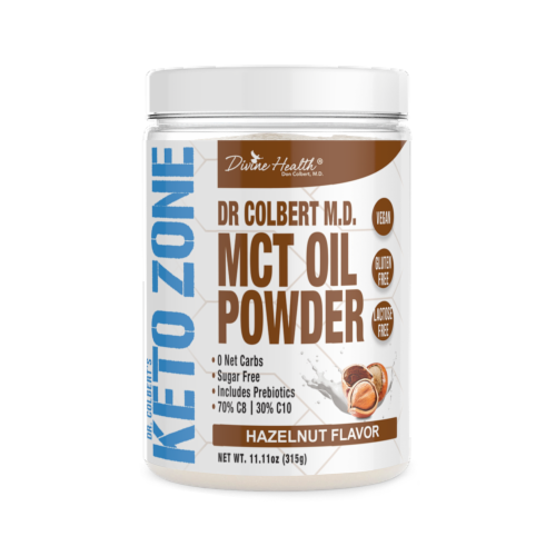 Divine Health Keto Zone Hazelnut Flavored MCT Oil Protein Powder Perspective: front