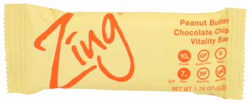 Zing Peanut Butter Chocolate Chip Vitality Bar Perspective: front